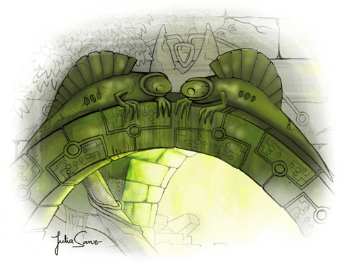 Background design: ruined temple