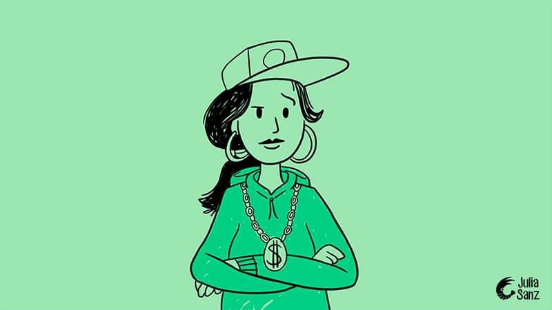 drawing of a girl with a rapper's cap, sweatshirt and necklace