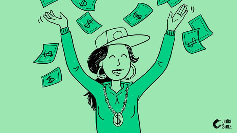 drawing of a rapper girl with her arms up and many money bills falling from above