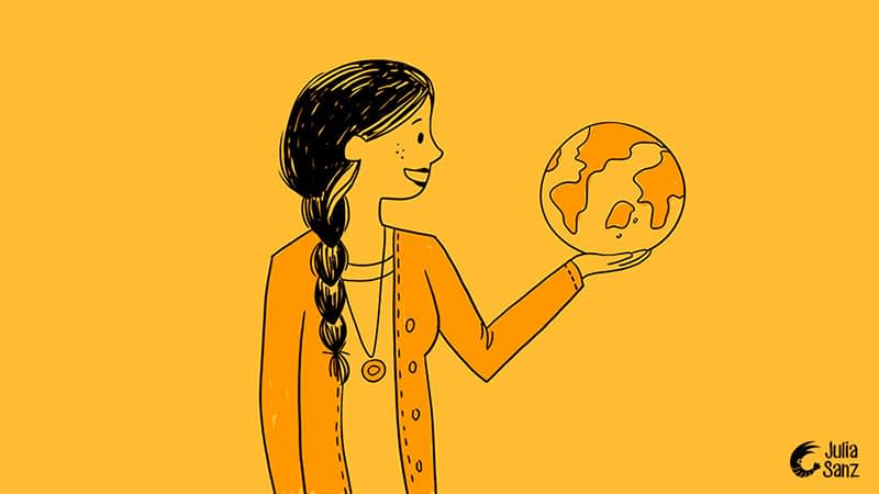 drawing of a girl with a braid is looking at a world ball that she holds with her hand