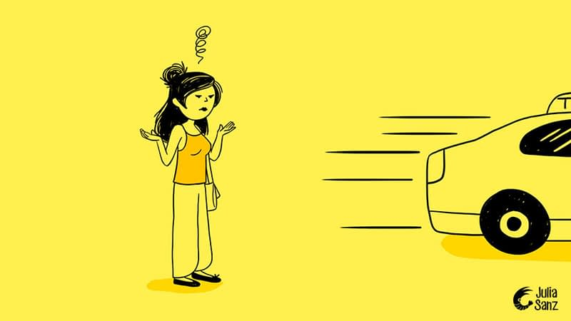 drawing of a brunette girl with a handbag is surprised that a taxi has not stopped