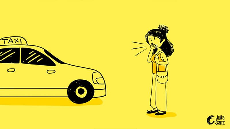 a brunette girl with a purse is whistling to call a taxi