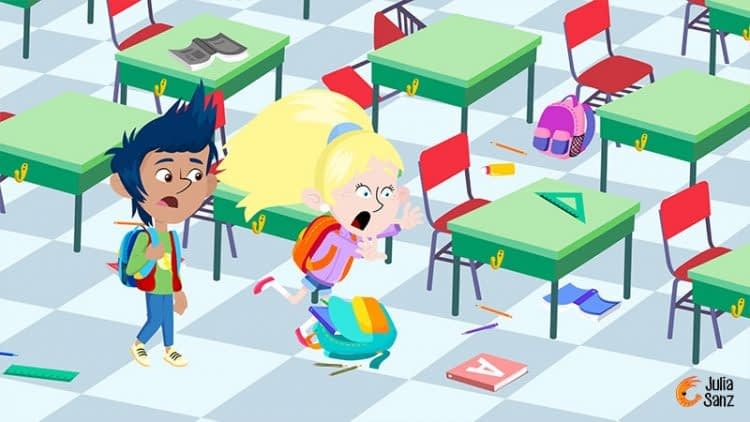Children on a background of a messy classroom